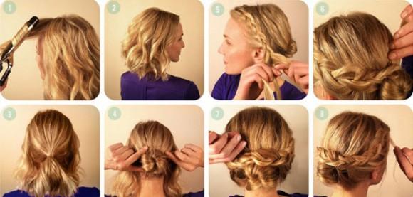 Процесс создания прически на короткие волосы с французской косой