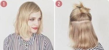 Волосы, разделенные горизонтальным пробором