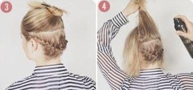 Косички, заплетенные из нижней части волос