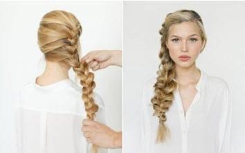 Объемная коса на бок в романтическом стиле