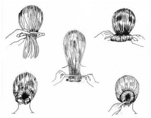 Создание прически пучок-шишка