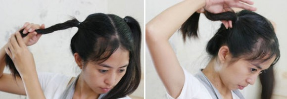Скручивание жгутов из волос, собранных в хвосты