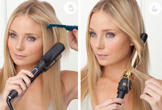 Использование утюжка и плойки для укладки наращенных волос