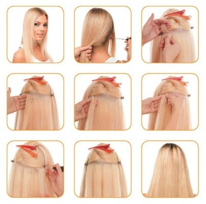 Процесс холодного наращивания волос