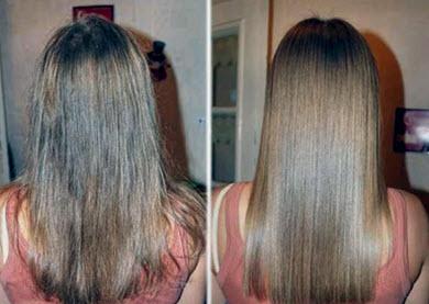 Волосы до и после использования смеси из творога и яйца