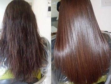Волосы до и после использования раствора из яичного белка, касторового масла и глицерина