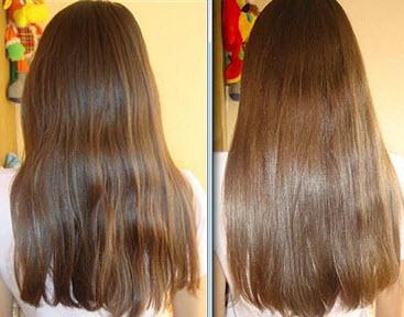 Волосы до и после использования медовой маски