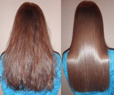 Волосы до и после использования крепкого настоя чая
