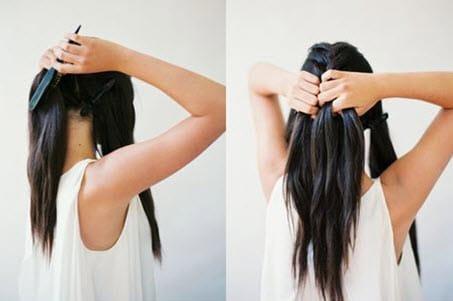 Волосы, разделенные на три части