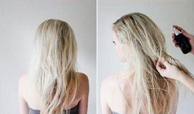 Нанесение лака на начесанные на макушке волосы