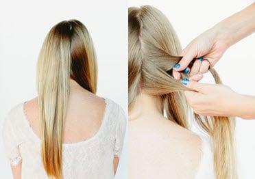 Волосы, разделенные вертикальным пробором на две части