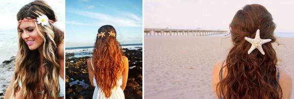 Пляжные прически с красивым аксессуаром