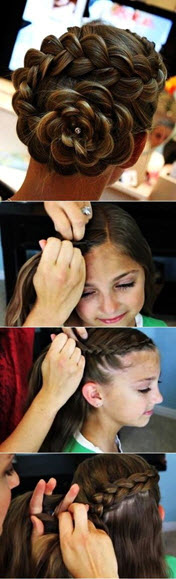 Процесс создания праздничной прически с красивым и оригинальным цветком из волос