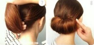 Начесанные волосы, скрученные в пучок
