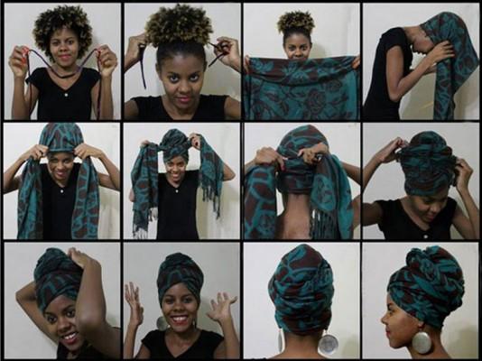 Процесс завязывания платка в африканском стиле
