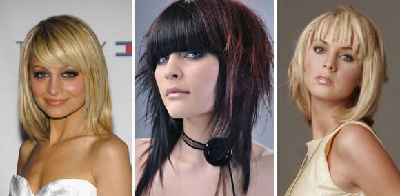Женские стрижки на волосы средней длины с челкой