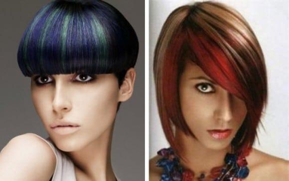 Мелирование коротких волос в стиле яркие полосы