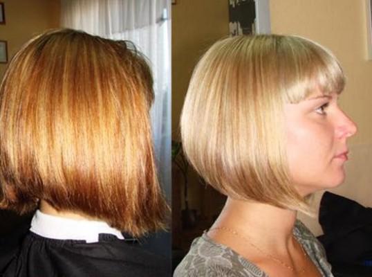 Мелированные волосы до и после процедуры тонирования