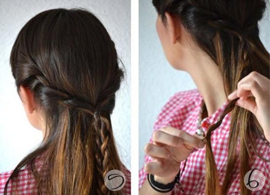 Плетение общей косы из двух соединенных вместе