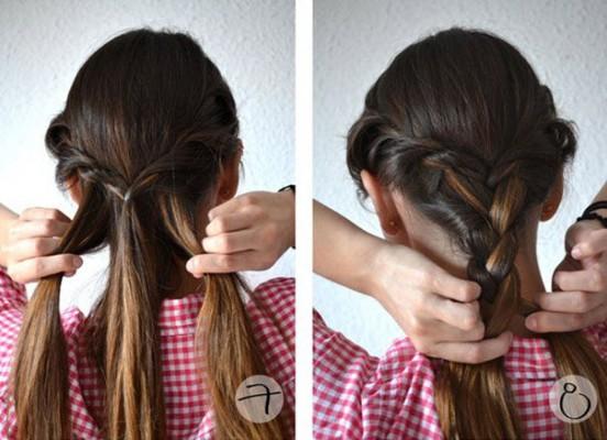 Распределение волос на три равные части и плетение из них одной косы