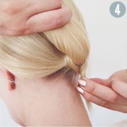 Кончики волос, заправленные под резинку