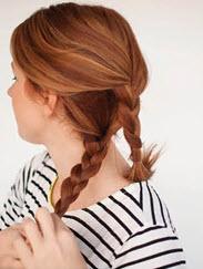 Нижняя часть волос, заплетенная в две косы