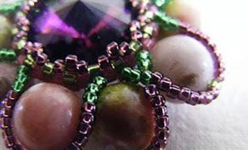 Создание ободка из бисера вокруг бусинок