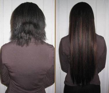 Прическа до и после наращивания волос