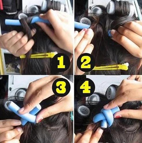 Поэтапный процесс накручивания волос на папильотки
