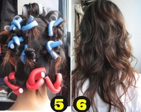 Волосы с накрученными папильотками и без них