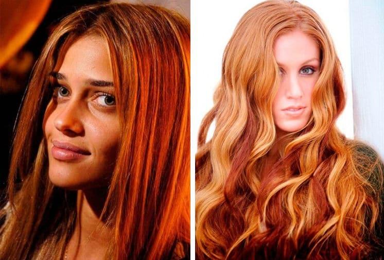 Окраска волос в рыжий с мелированием