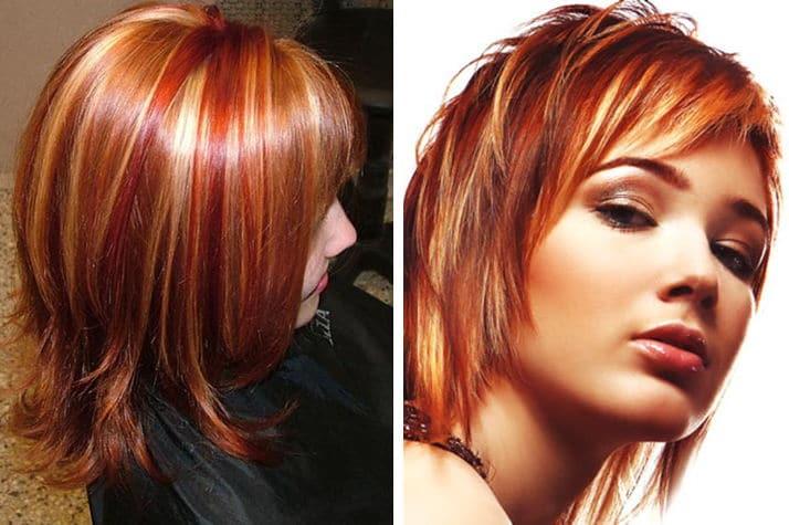 Мелирование на цвет волос медный