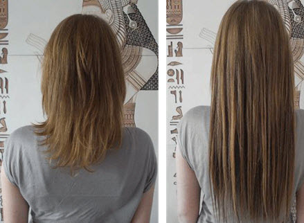 Волосы до и после наращивания с помощью трессов на заколках