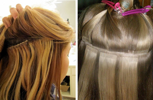 Трессы на заколках, прикрепленные к натуральным волосам