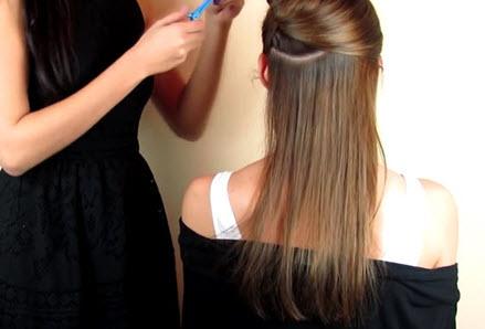 Разделение волос пробором на верхнюю и нижнюю половинки